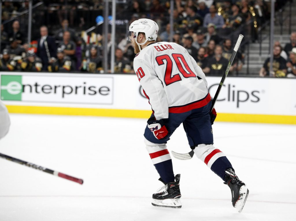 Washington Capitals center Lars Eller celebrates his goal against the Vegas Golden Knights during the first period in Game 2 of the Stanley Cup finals on Wednesday. The series is tied 1-1 heading back to Washington.