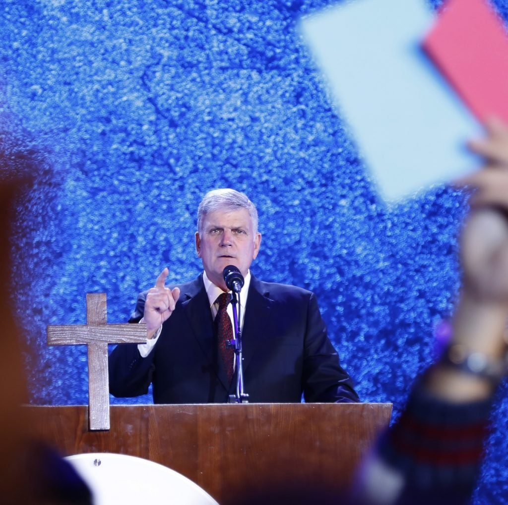 Evangelical preacher Franklin Graham speaks in Hanoi, Vietnam, in 2017. Graham, a supporter of President Trump, says he is coming to Berkeley, Calif., in peace and in a longshot attempt to sway some voters to support evangelical Christian candidates.