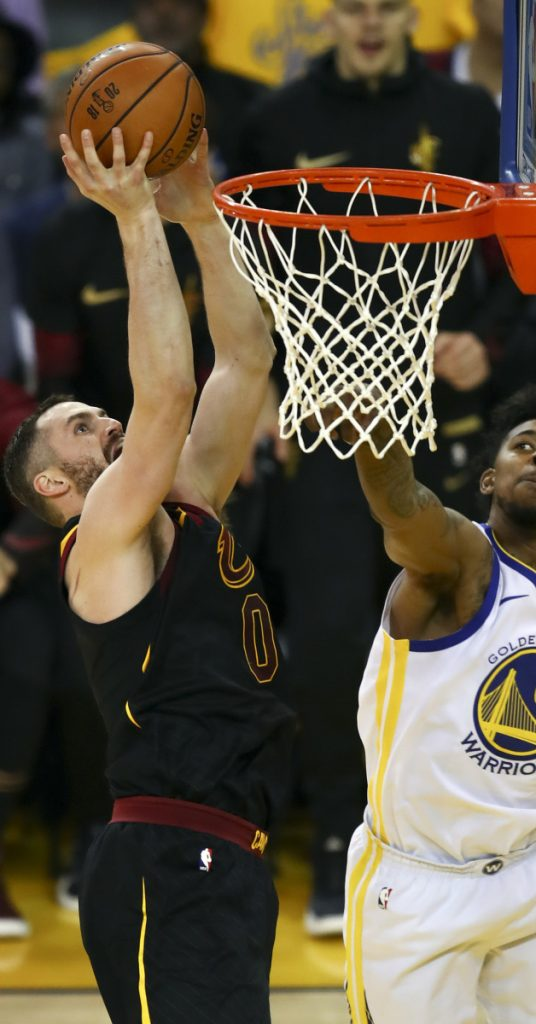 Kevin Love of the Cleveland Cavaliers will be allowed to play in Game 2 when it was determined he came off the bench to contest a call, not get involved in an altercation.