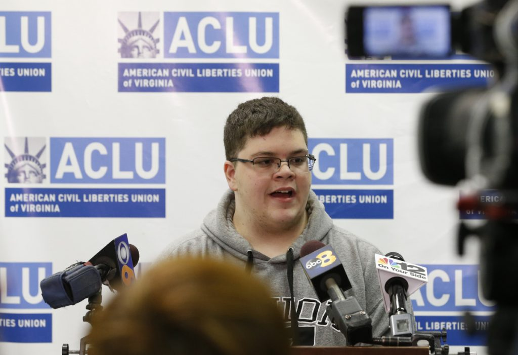 Gavin Grimm, seen here in 2017, sued the Gloucester County School Board in Virginia after its policy barred him from using the boys' bathroom.