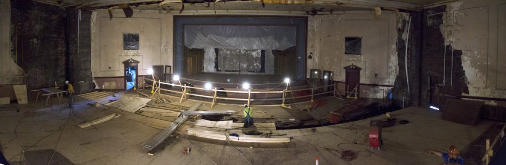 Floor repairs are underway Tuesday at the Colonial Theatre in Augusta. The floor work covers a big hole in the main floor of the theater that went all the way through to the basement.