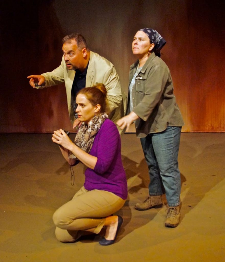 "Corey M. Gagne, Marjolaine Whittlesey and Bess Welden appear in ""False Flag"" by the Dramatic Repertory Company in Portland."