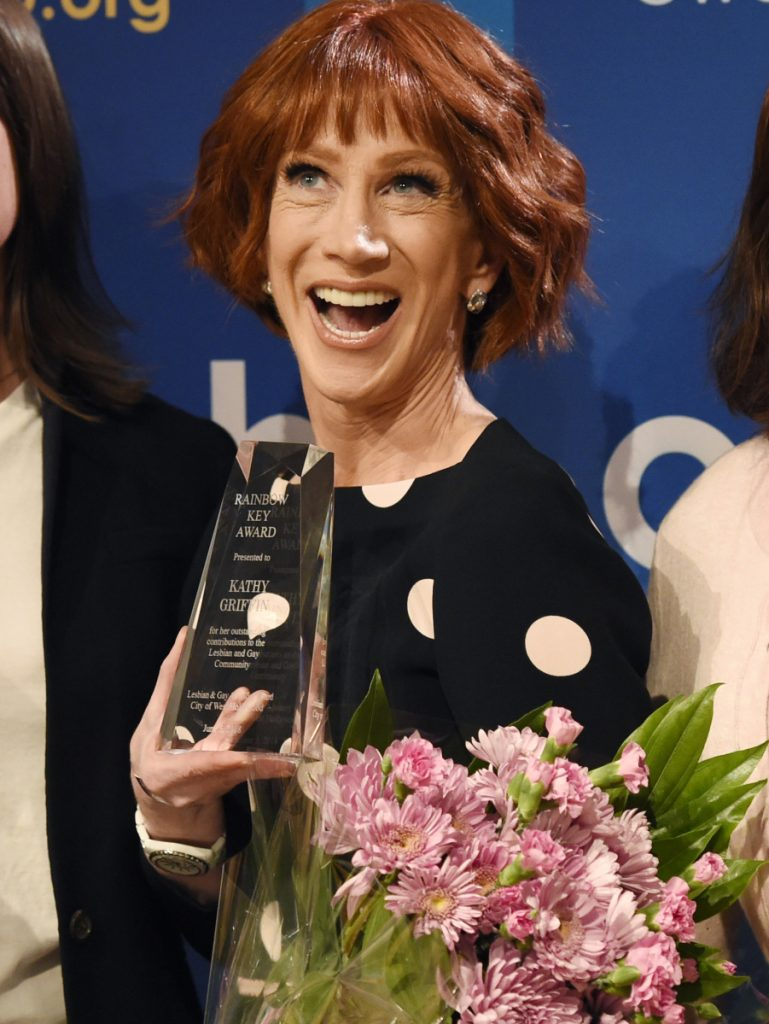Kathy Griffin accepts a Rainbow Key Award, Tuesday for LGBTQ advocacy.