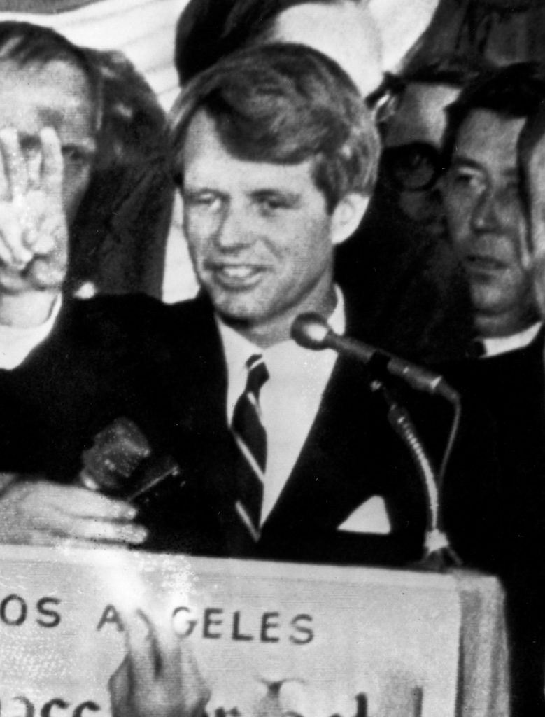 U.S. Sen. Robert F. Kennedy, D-NY, speaks to campaign workers on June 5, 1968. He was shot and killed shortly after making the speech.