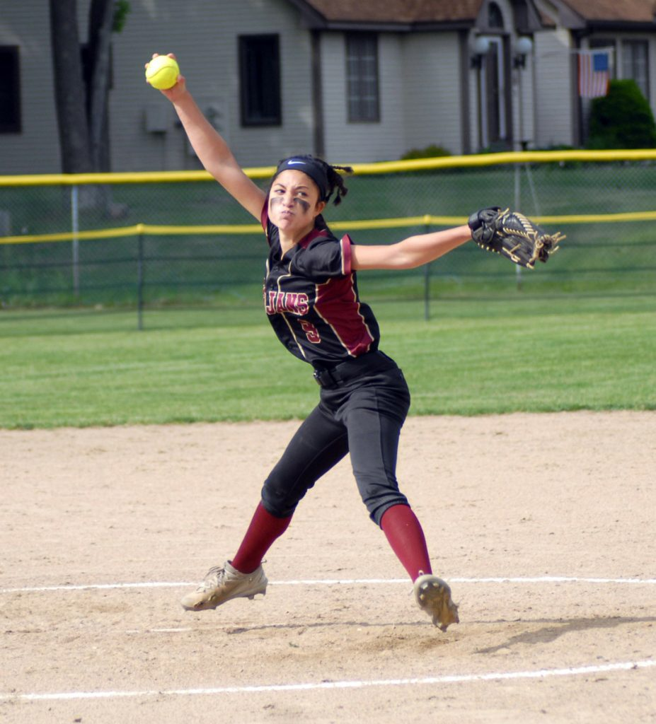 Thornton Academy's Louisa Colucci fires a pitch during Thursday's Class A South quarterfinal against Kennebunk.  PAT McDONALD/Journal Tribune
