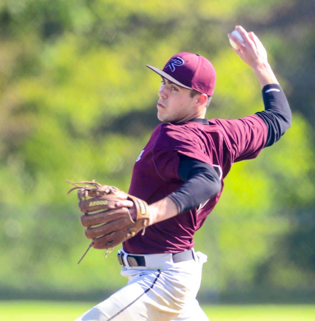 Richmond pitcher Zach Small throws during a Class D South semifinal game against Greenville on Friday.