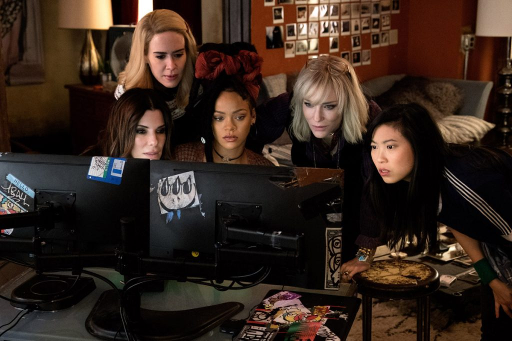 "Sandra Bullock, from left, Sarah Paulson, Rihanna, Cate Blanchett and Awkwafina star in ""Ocean's 8."""