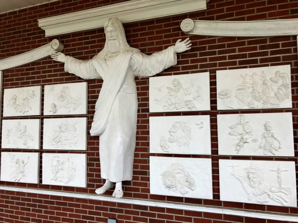 A statue of Jesus and reliefs are seen at Red Bank Baptist Church in Lexington, S.C., 20 miles west of Columbia.