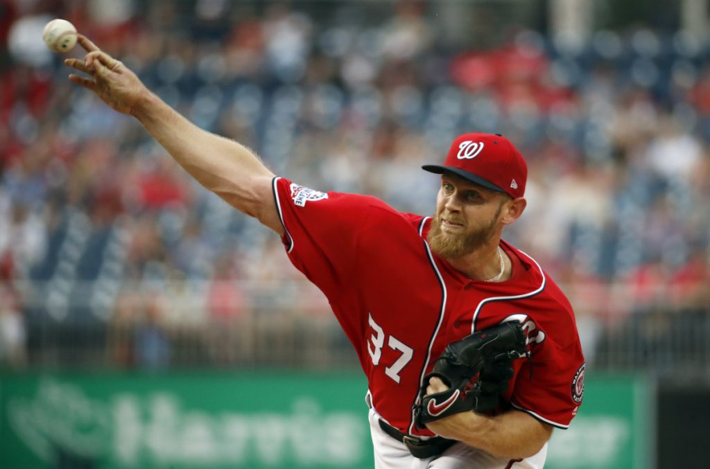 Stephen Strasburg was placed on the disabled list by the Washington Nationals with right-shoulder inflammation.