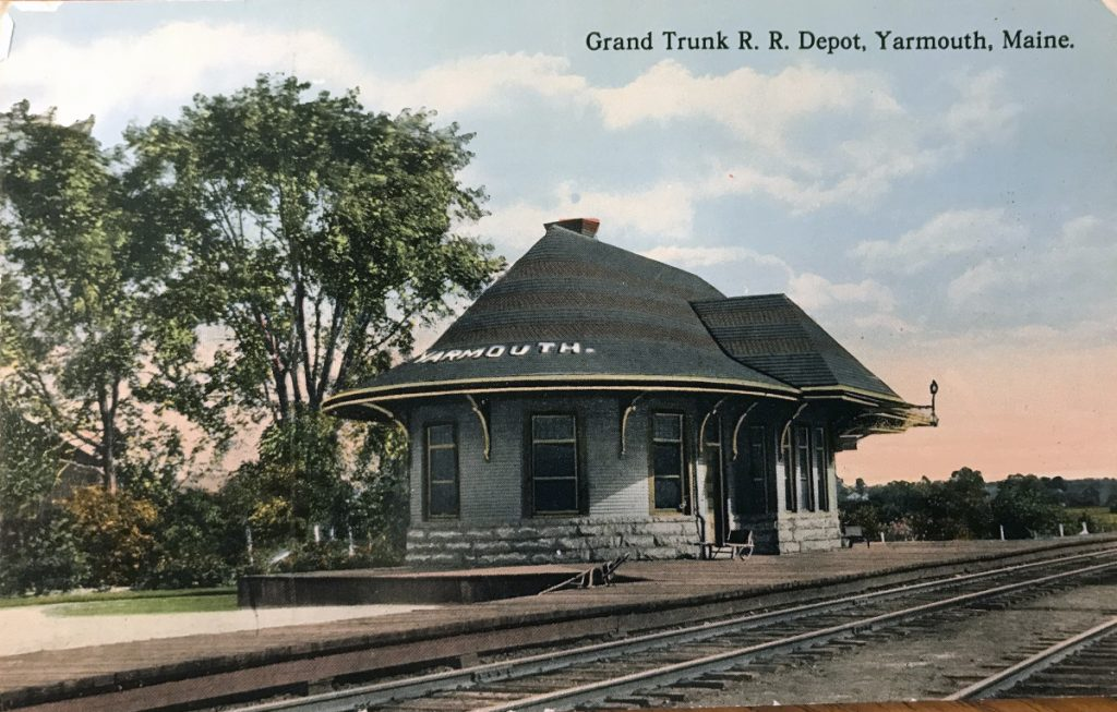 An old postcard shows Yarmouth's Grand Truck Railroad Depot, circa 1910.