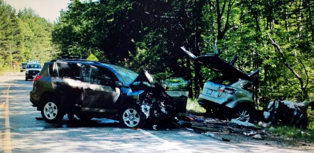 Three people were seriously injured Sunday when an SUV driven by Andrew Brockelman, 22, of Boxford, Mass., and a vehicle driven by Richard Spiess, 75, of Southwest Harbor collided head-on on Carrabassett Drive, also known as routes 27 and 16, in Carrabasett Valley, according Assistant Police Chief Rick Billian.