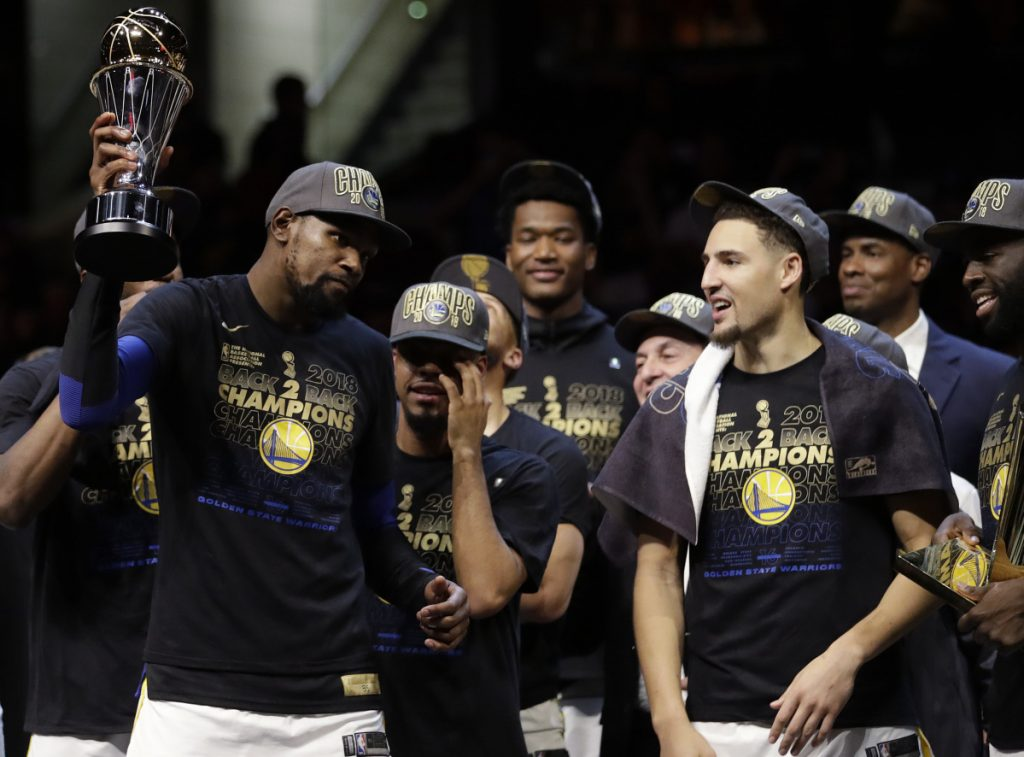 When Kevin Durant, left, joined the Golden State Warriors he made a team that was already dominant into one that is now a dynasty.