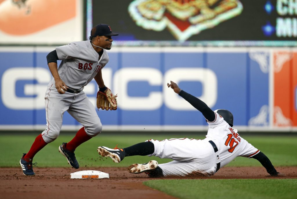 Red Sox shortstop Xander Bogaerts, left, jumps out of the way after forcing out Baltimore's Adam Jones on a fielder's choice hit by Jonathan Schoop in the first inning Monday in Baltimore.