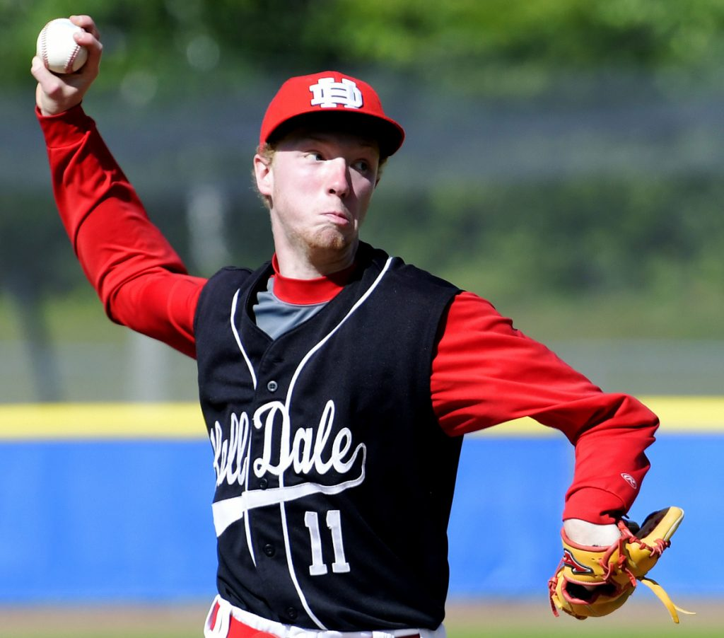 Hall-Dale's Dean Jackman delivers a pitch during the Class C South championship game Tuesday against Maranacook at St. Joseph's College in Standish.