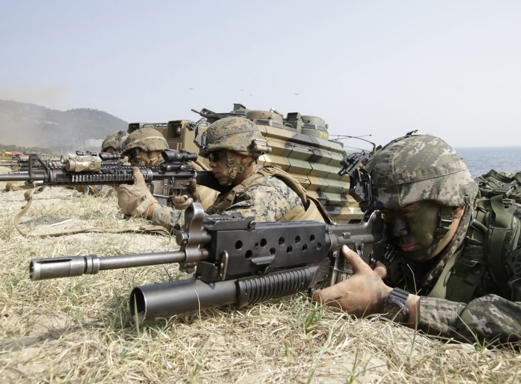 South Korean and U.S. marines during the U.S.-South Korea joint landing military exercise Foal Eagle in 2015. Administration officials say halting the joint exercises is a relatively modest concession that has great symbolic importance to Pyongyang.