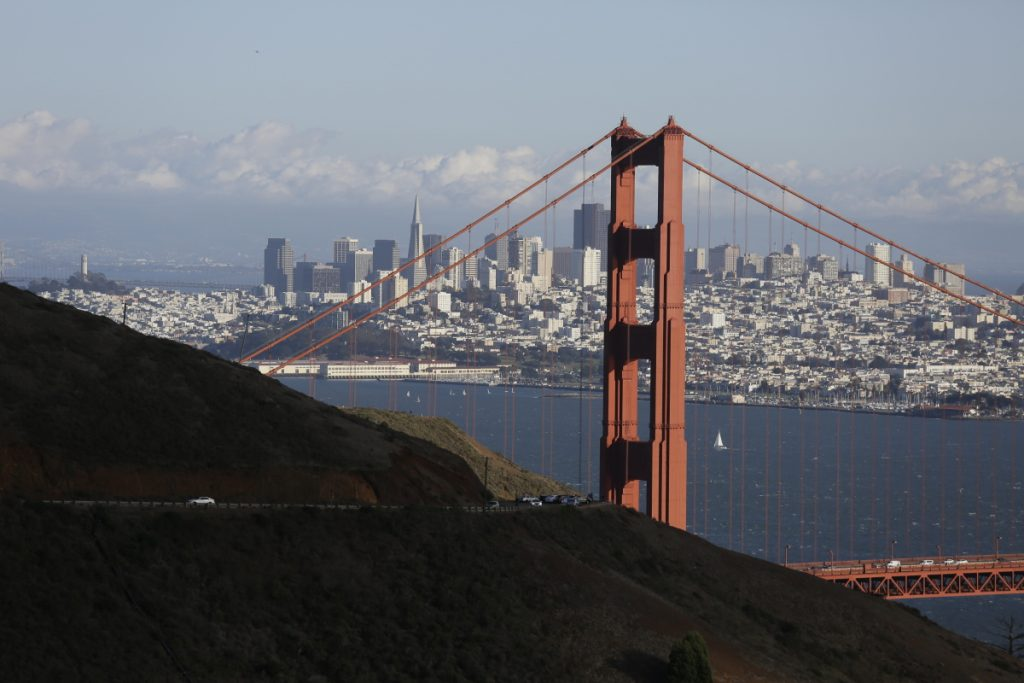 Gate Bridge and San Francisco skyline from the Marin Headlands above Sausalito Calif. An initiative that seeks to split California into three states is projected to qualify for the state's Novemb
