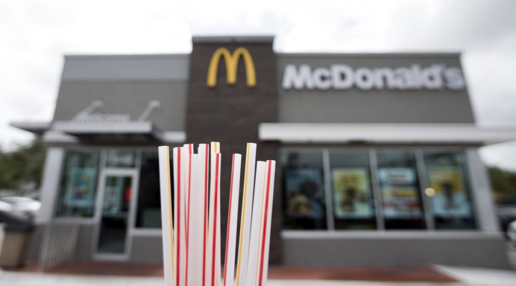 In anticipation of a potential government ban, McDonald's restaurants like this one in Doral, Fla., are planning to replace plastic straws with more biodegradable options in the United Kingdom and Ireland in September.