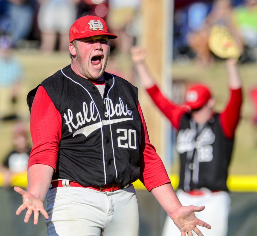 Hall-Dale pitcher Cole Lockhart celebrates 2-1 victory over Houlton in Class C baseball state championship game on Saturday in Standish.