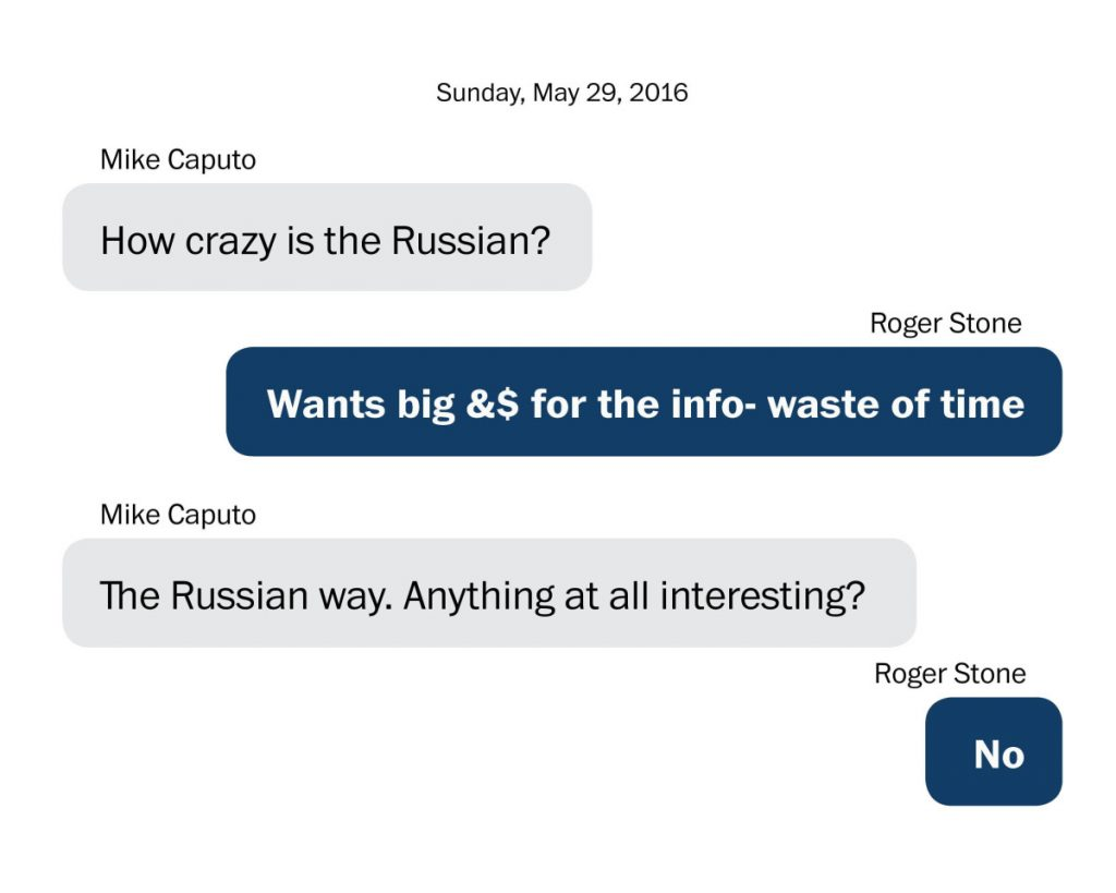 Text messages between Roger Stone and Michael Caputo, a Trump campaign communications official who arranged Stone's meeting with Henry Greenberg.