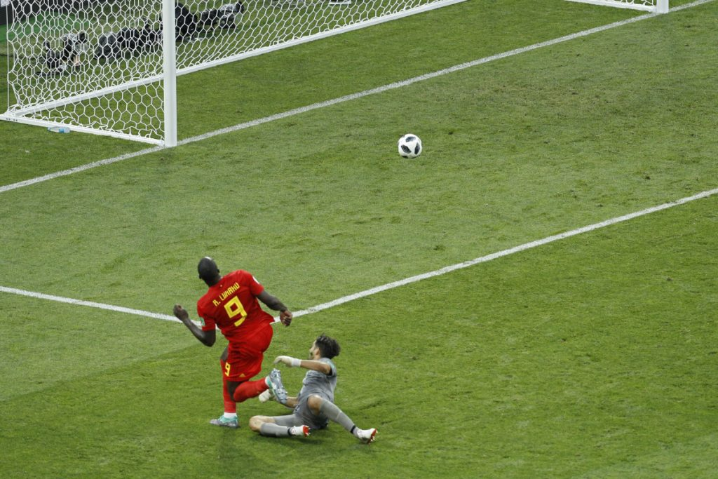 Belgium's Romelu Lukaku scores past Panama goalkeeper Jaime Penedo — his side's third goal during the group G match between Belgium and Panama at the 2018 World Cup in Sochi, Russia on Monday. Belgium won 3-0.
