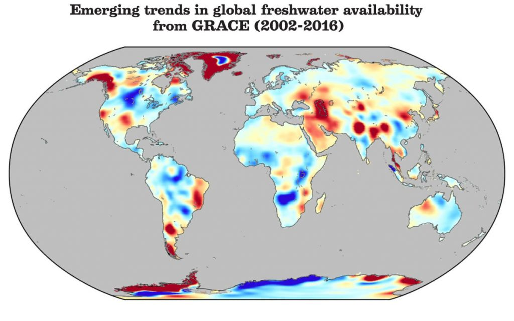 The Earth's fresh water distribution has changed rapidly since 2002. Progressively deeper hues represent the greatest and most problematic rates of change.