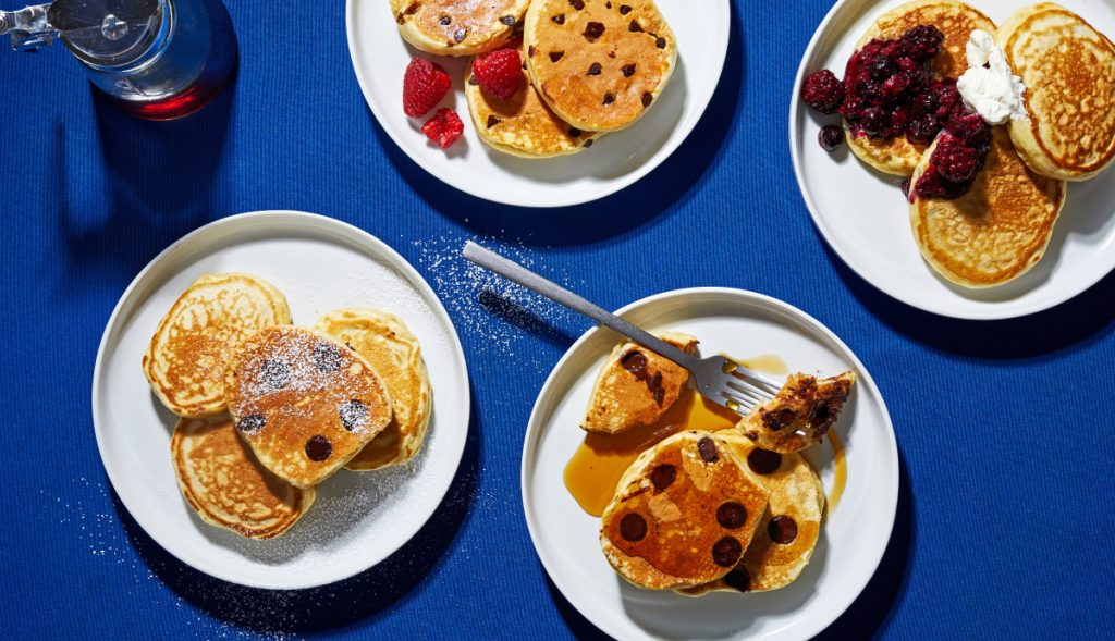 These pancakes take the same minimal effort as any mix. The recipe is decidedly unfussy with just six ingredients in one bowl.
