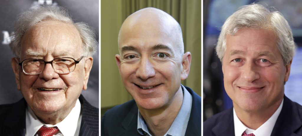 From left, CEOs Warren Buffett of Berkshire Hathaway, Jeff Bezos of Amazon.com and Jamie Dimon of JP Morgan Chase are turning to a Harvard professor to transform the health care they offer their workers.