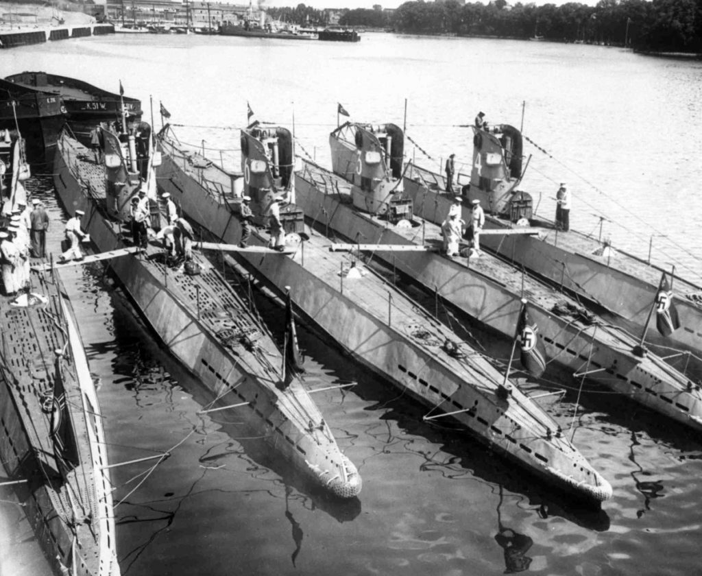 U-boats in the harbor of Neustadt, in Holstein, Germany, in undated photo. Reinhard Hardegen became a hero in World War II Germany after his U-boat successfully sank several ships off the U.S. coast in 1942.