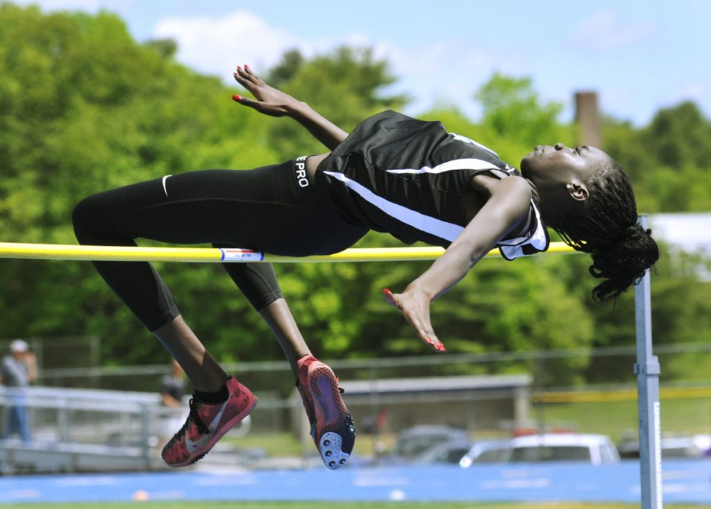 Westbrook's Nyagoa Bayak won the girls' high jump at the Class A track and field state championships in Bath on June 2 with a leap of 5 feet, 11 inches.