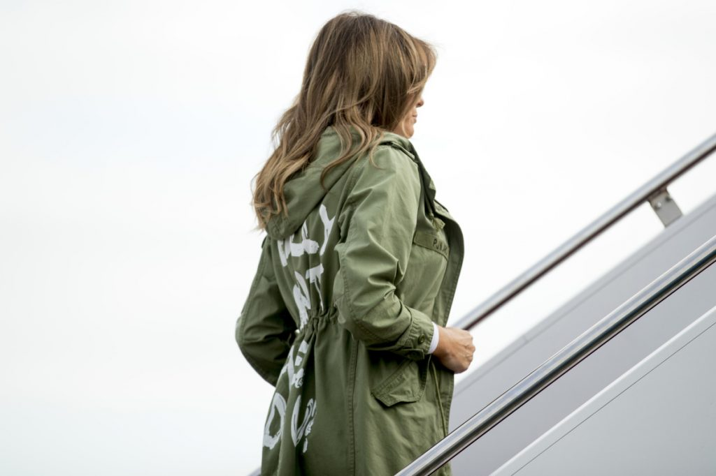 First lady Melania Trump boards a plane at Andrews Air Force Base, Md., on Thursday.