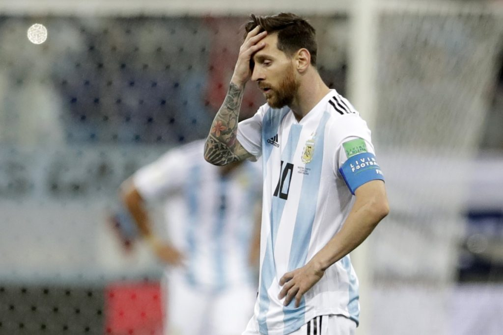 Argentina's Lionel Messi reacts after Croatia scores its third goal in a 3-0 win over Argentina at the 2018 soccer World Cup on Thursday in Nizhny Novgorod, Russia.