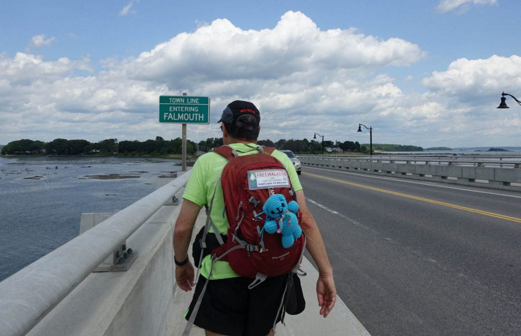 Ken Kurland forges ahead into Falmouth, following the East Coast Greenway. He's headed to Belfast by foot.