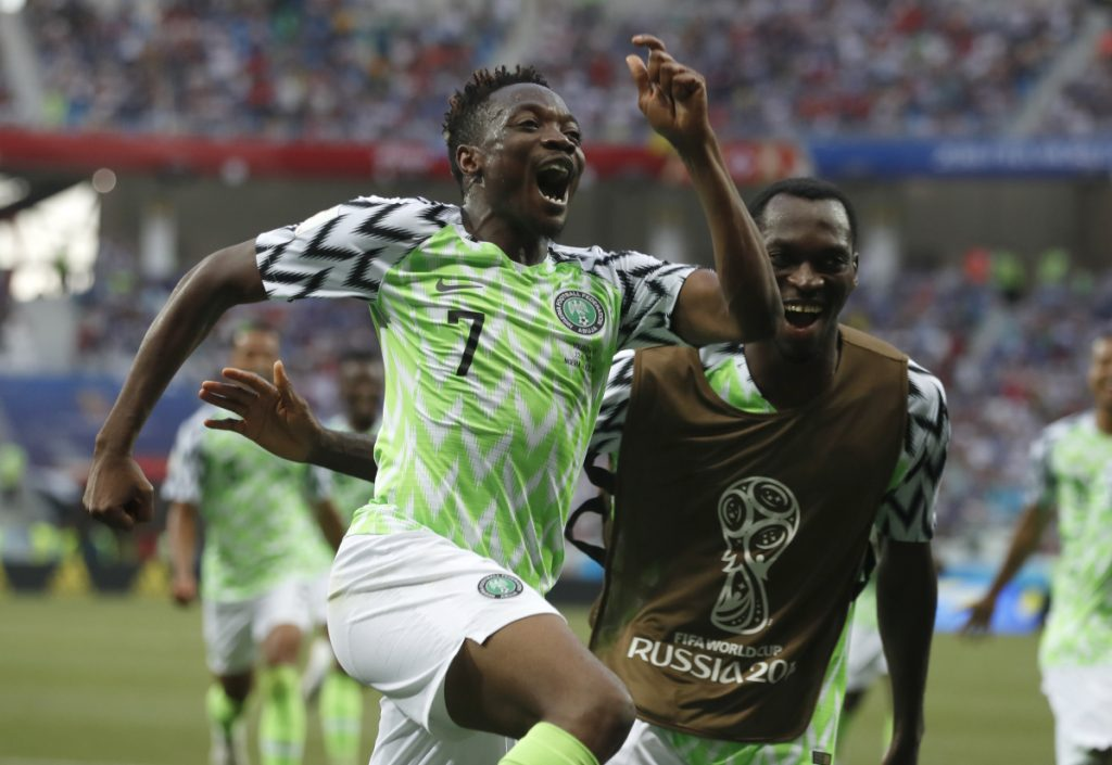 Nigeria's Ahmed Musa celebrates his second goal during Friday's 2-0 win over Iceland on Friday in Volgograd, Russia.