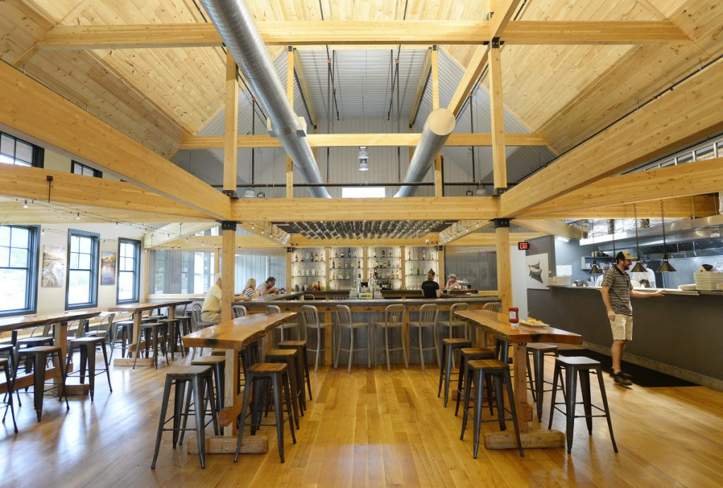 Nonesuch River Brewing, with its handsome, spacious interior juxtaposing stainless steel and natural materials, opened in mid-2017.