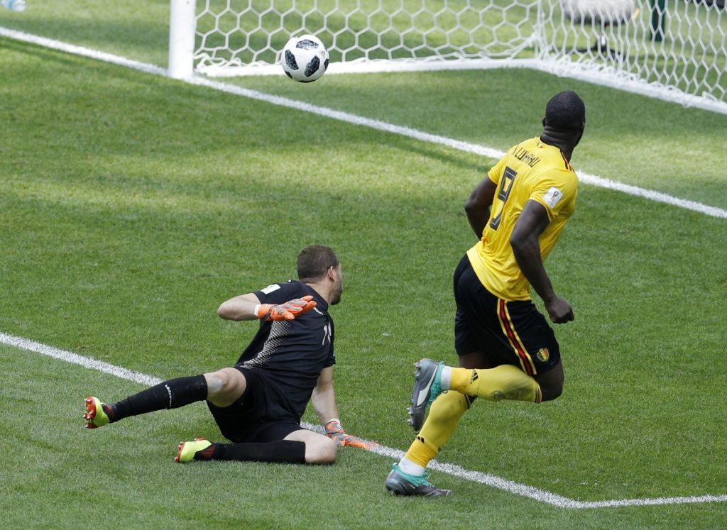 Belgium's Romelu Lukaku scores his side's third goal against Tunisia during their group G match at the 2018 World Cup in Moscow on Saturday.
