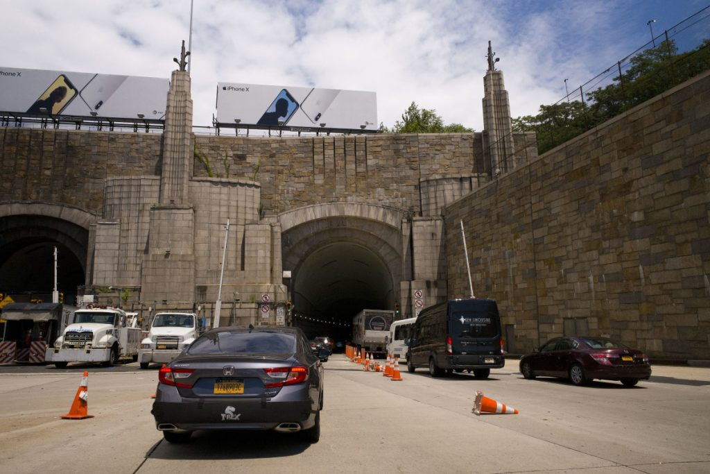 "Traffic on Route 495 enters the Lincoln Tunnel en route to New York City in Weehauken, N.J. An estimated two-year rehabilitation project on a section of 495 will create ""severe congestion,"" according to the state's Department of Transportation."