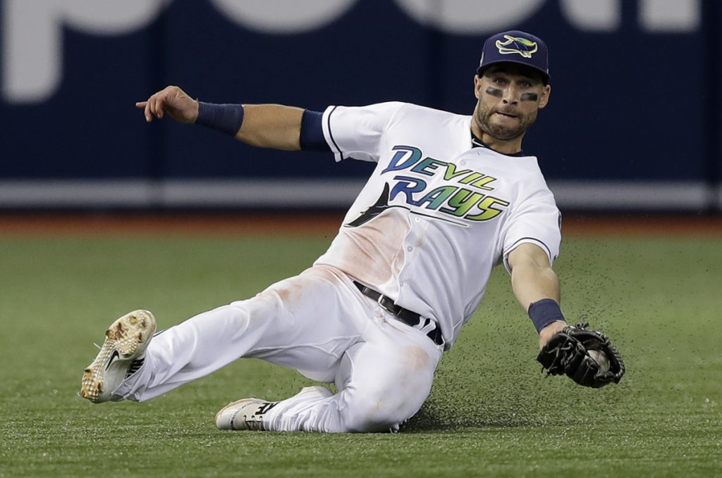 Tampa Bay center fielder Kevin Kiermaier makes a sliding catch on a flyout by the Yankees' Brett Gardner during the third inning their game in St. Petersburg, Florida, on Saturday. The Rays won 4-0.