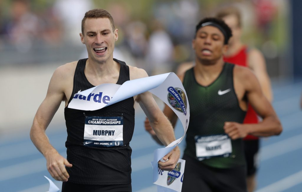 Clayton Murphy, left, celebrates as he beats Isaiah Harris to the finish line in the men's 800 meters at the U.S. championships on Sunday in Des Moines, Iowa.