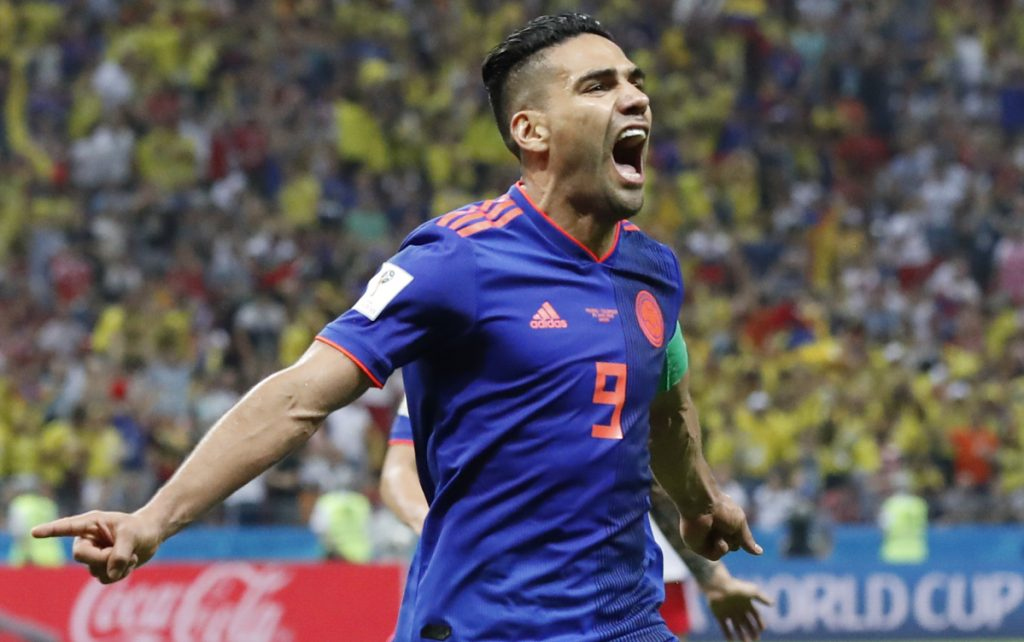 Colombia's Radamel Falcao celebrates after scoring during a Group H match between Poland and Colombia on Sunday at the Kazan Arena in Kazan, Russia. Colombia won 3-0.