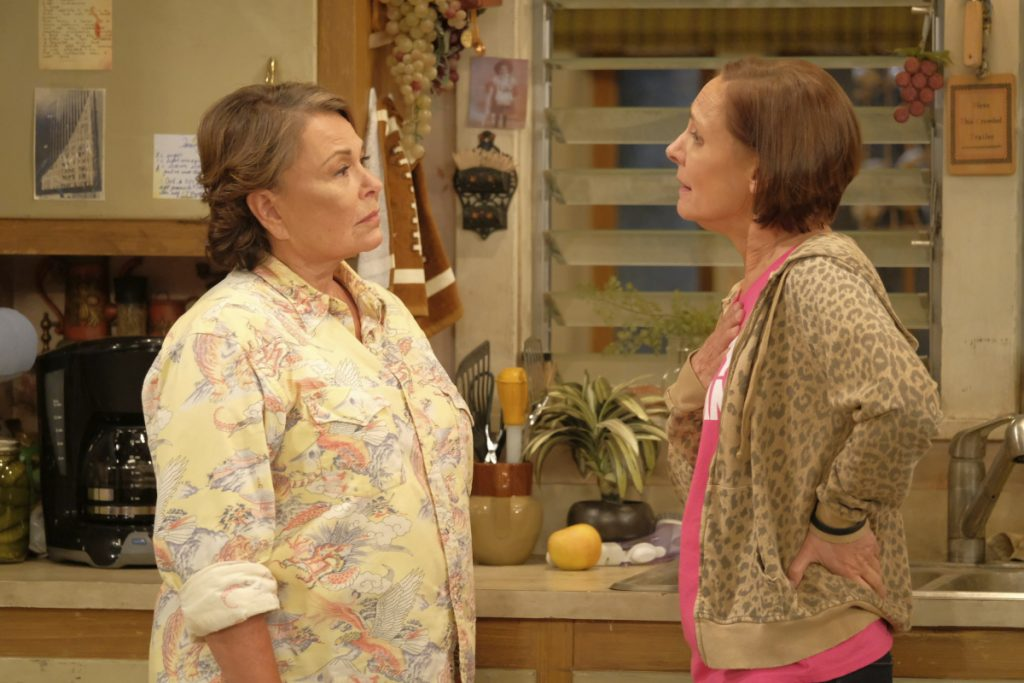 "Roseanne Barr, left, and Laurie Metcalf appear in an episode of the rebooted ""Roseanne,"" which ABC canceled after Barr's racist tweet."