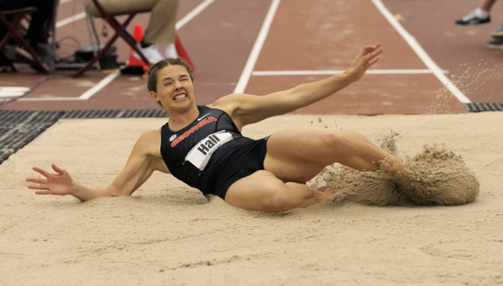 Kate Hall of Casco won two NCAA long jump championships while at the University of Georgia. Hall announced Monday she will forgo her senior year Georgia to focus on training in Maine for the 2019 World Championships. (Photo courtesy of Kirk Meche/University of Georgia)