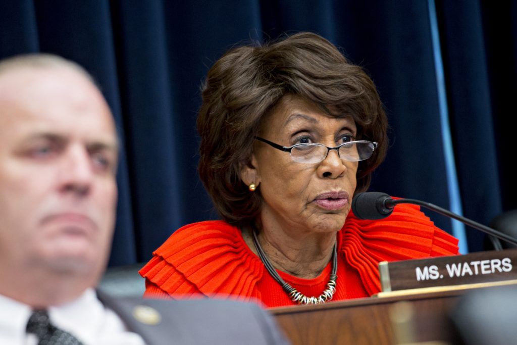 Rep. Maxine Waters, D-Calif., questions witnesses during a hearing in Washington on Oct. 25, 2017. MUST CREDIT: Bloomberg photo by Andrew Harrer.