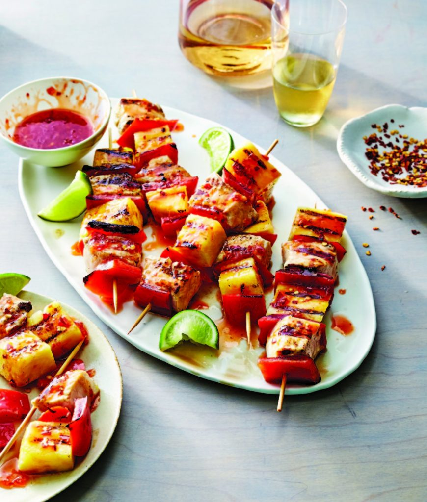 "Sweet and Sour Swordfish and Pineapple Skewers. ""The All-New Fresh Food Fast"" book includes up-to-date recipes for everything from breakfasts to desserts."