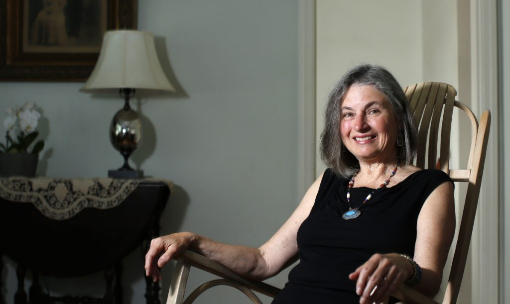 "Linda Aldrich relaxes at her Portland home. The city's new poet laureate was inaugurated Tuesday to the honorary, volunteer position, replacing Gibson Fay-Leblanc. ""I would like to bring poetry more into the lives of people who live here, no matter who they are,"" she said."