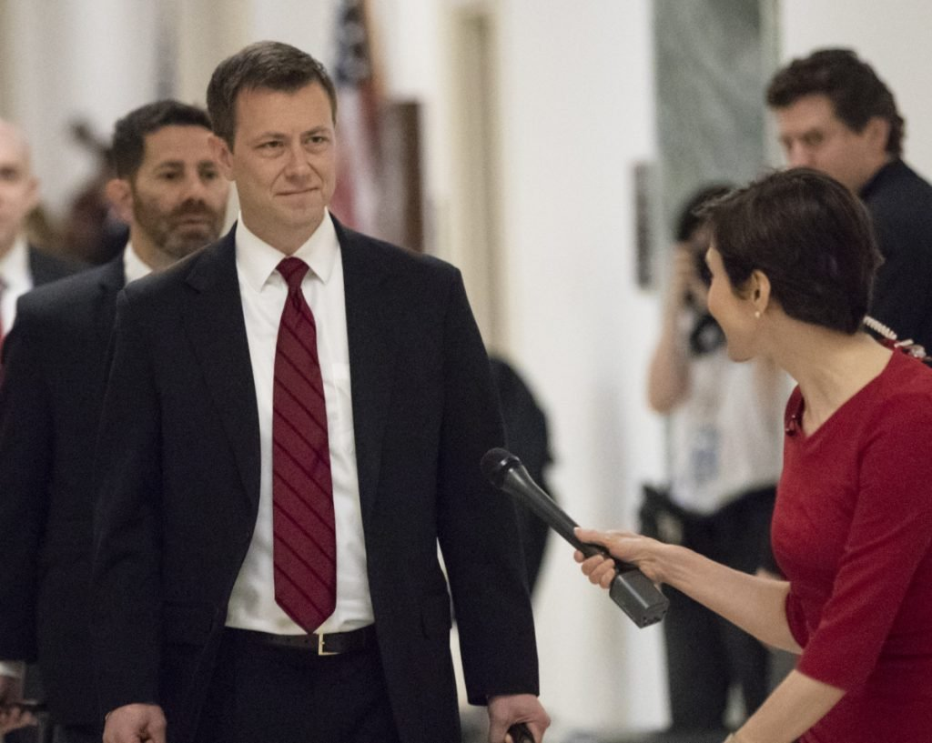 Peter Strzok, the FBI agent facing criticism following a series of anti-Trump text messages, on his way to the House Judiciary Committee Wednesday.