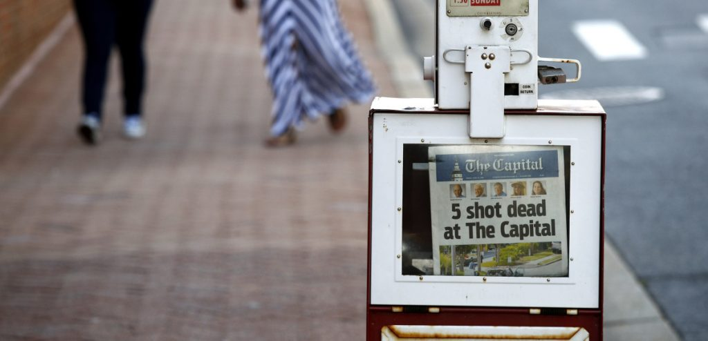 The Capital Gazette in Annapolis, Md., was forced to report its own tragic news Friday, the day after five employees were shot and killed, allegedly by a man who'd waged a vendetta against the newspaper.