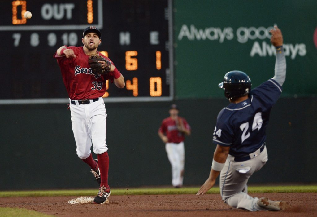 Portland's Nick Lovullo turns the double play as Binghamton's Jhoan Urena tries to break it up during the Sea Dogs' 3-2 loss on Friday at Hadlock Field.