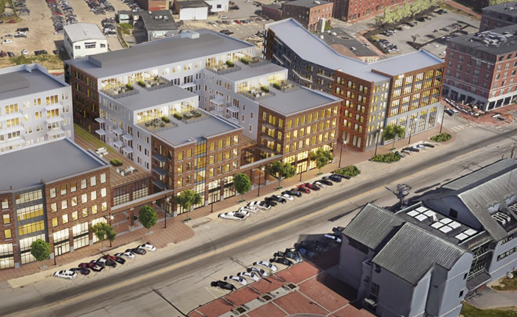 A rendering of the approved Hobson's Landing development, which would replace the former Rufus Deering Lumber site with a hotel and condos at 383 Commercial St.