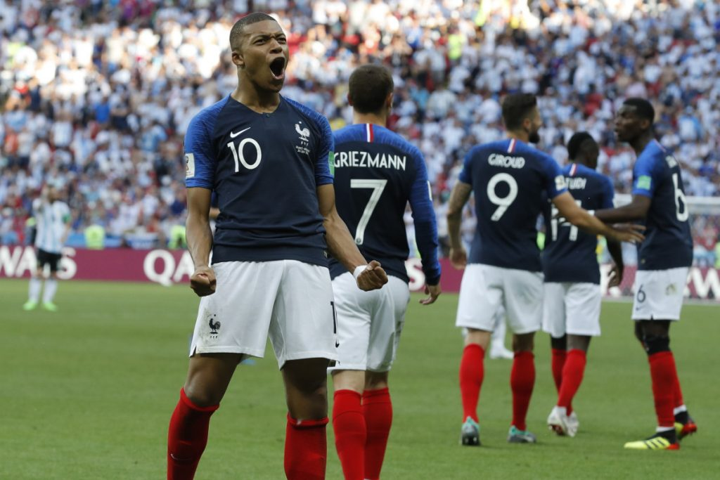 France's Kylian Mbappe celebrates after scoring his side's third goal during the elimination match between France and Argentina at the 2018 World Cup in Kazan, Russia on Saturday.