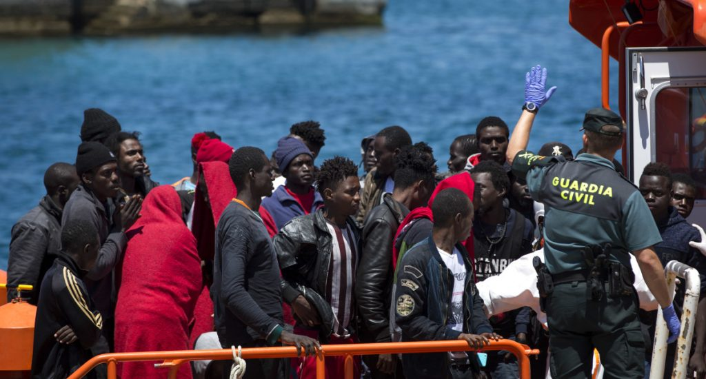 Migrants arrive at the port of Tarifa in Spain on Friday after being rescued by Maritime Rescue Service. The European Union has suggested building screening centers in Africa.